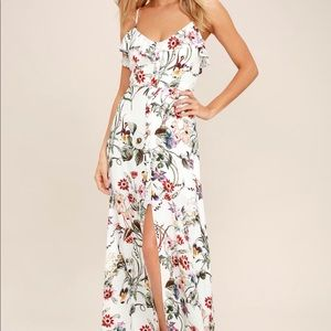 Lulu's Bloom on Ivory Floral Maxi Dress- Size S
